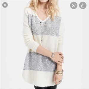 Free People Striped Sequin Sweater
